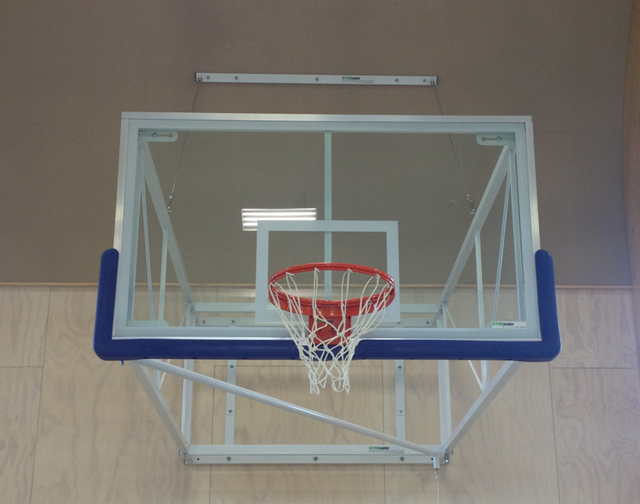 Basketball System Wall Mounted Side Fold Backstop 4 6 To